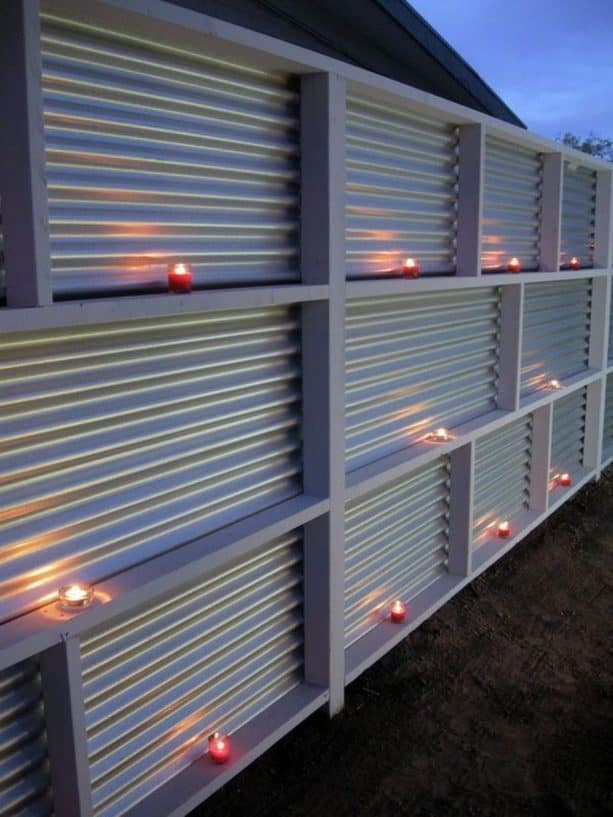 modern corrugated metal fencing with white theme