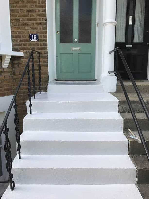 the concrete steps priming process that at the same time gives a new color