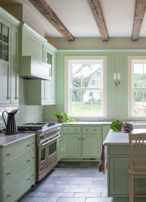 pale mint kitchen cabinets