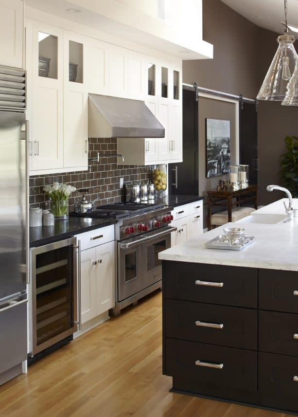 transitional kitchen with white cabinets and chocolate brown Benjamin Moore Woodcliff Lake wall paint color