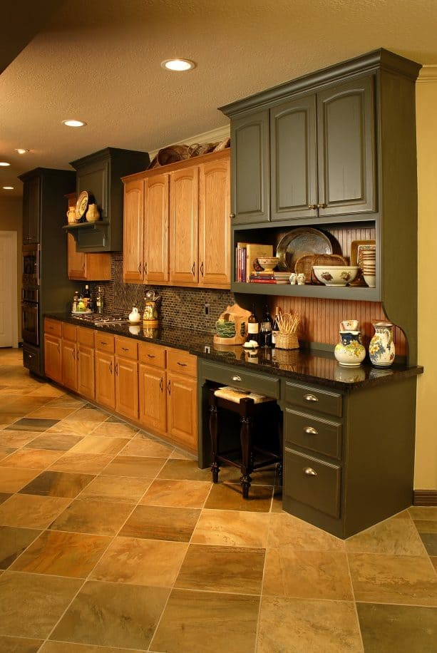 how the oak cabinets look after the update