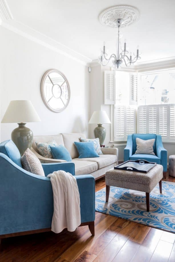 grey and blue living room with pebble sky inspiration