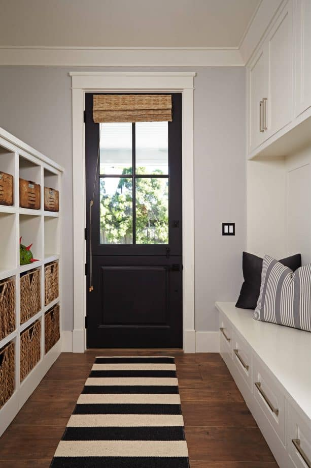 transitional entry with black door and white trim paint color