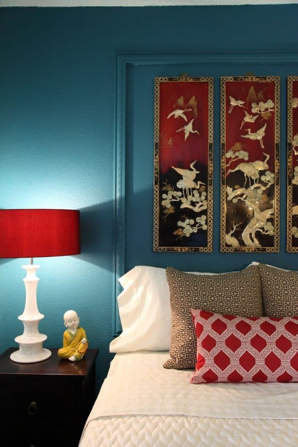 red bedroom color that go with teal
