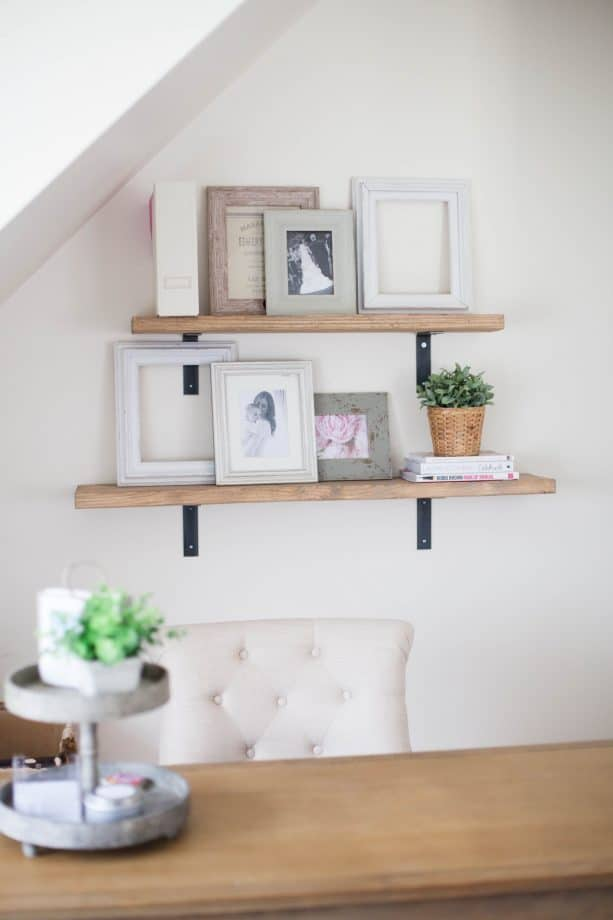 rustic shelving with Minwax Weathered Oak stain