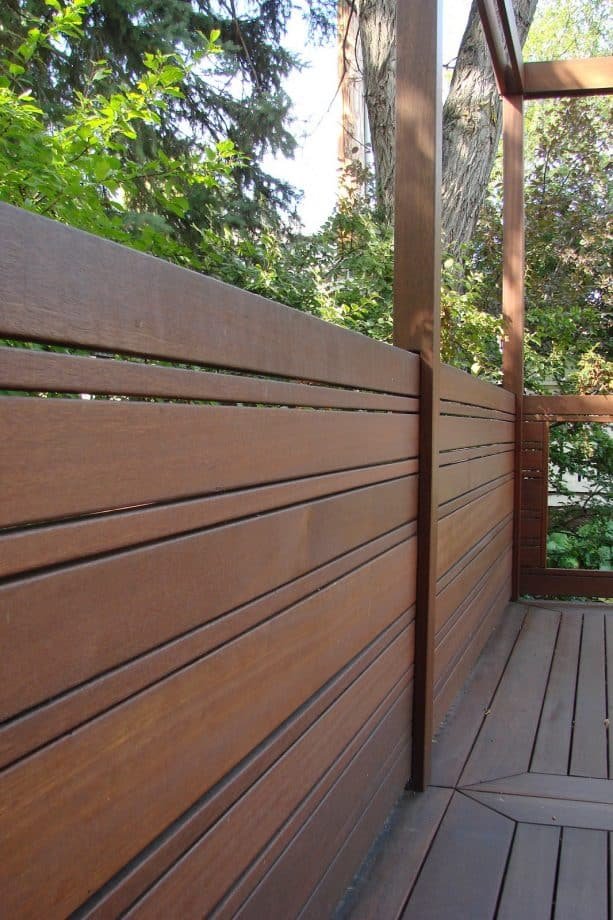 deck privacy screen from exotic hardwood material