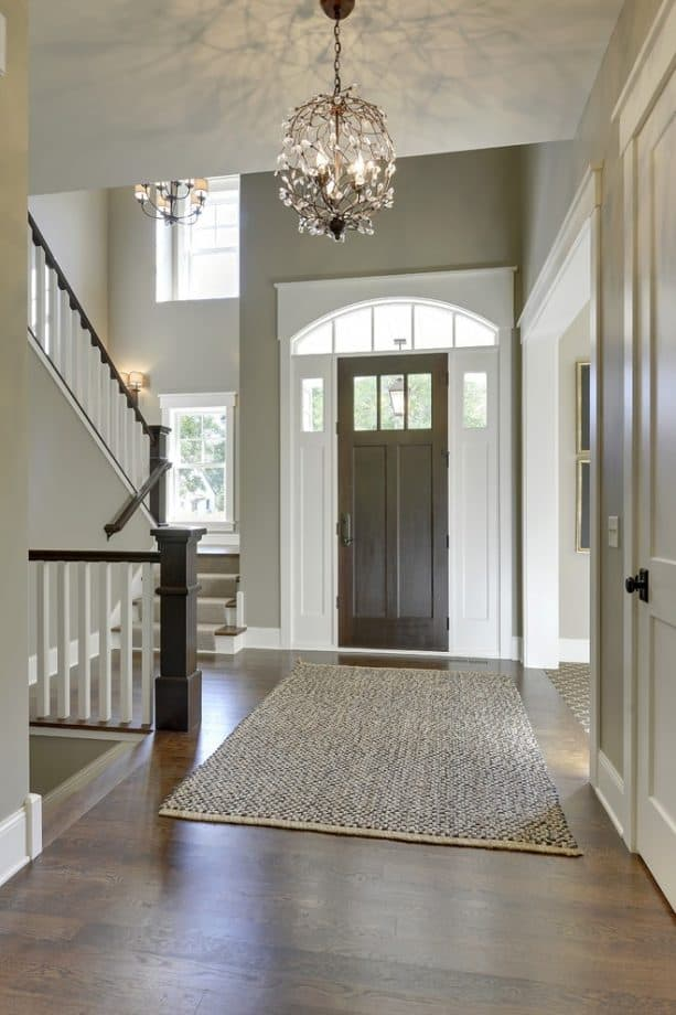 custom coffee-stained front door with white trim