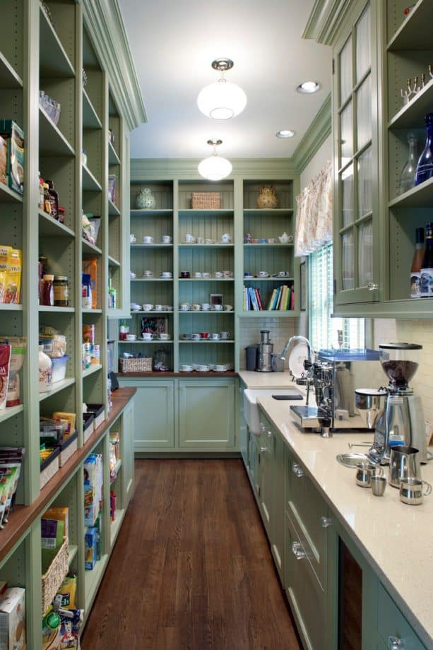 beautiful open pantry cabinets with sage green color