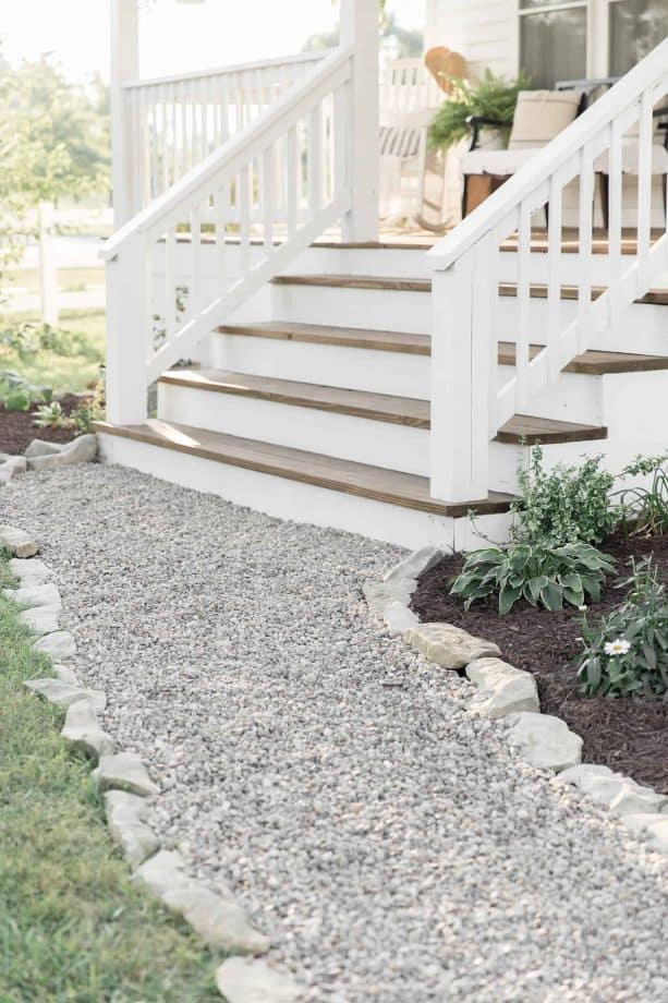 a closer look to the concrete steps after getting a wood decking