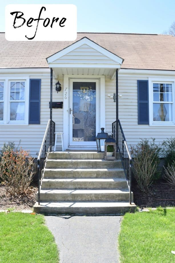the concrete front steps and porch look too ordinary before the makeover project