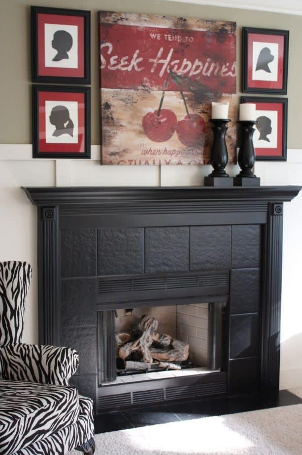 matte black fireplace tile