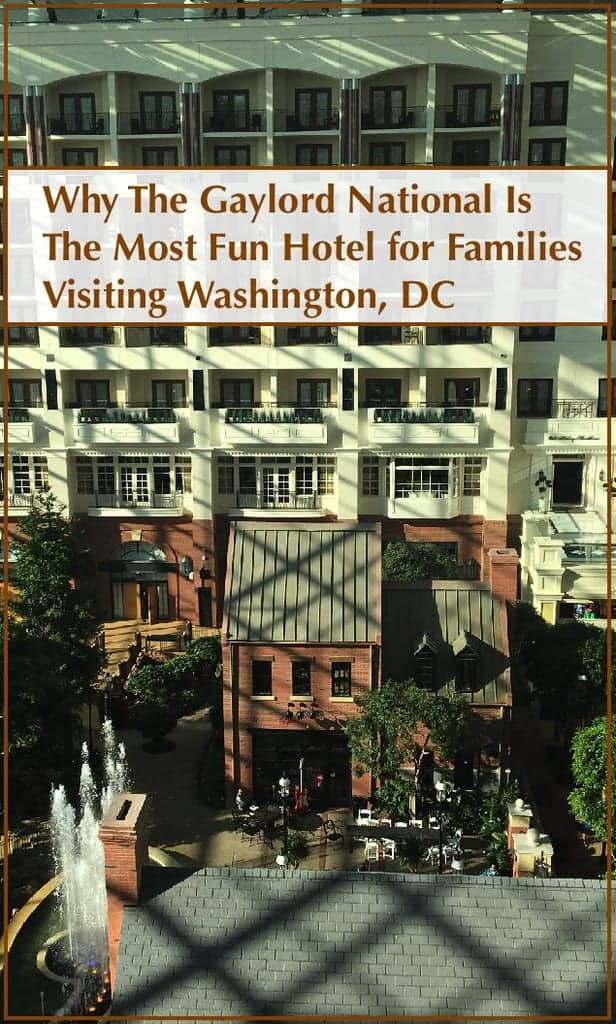 The gaylord national resort in national harbor is a fun hotel for families taking a washington dc vacation because of its location, restaurants and extras like nightly light shows