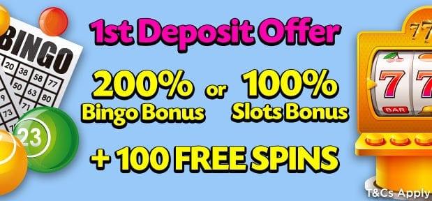 Lucky Pants Bingo Casino 100 free spins bonus on first deposit