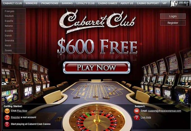 Cabaret Club 100% bonus and 50 free spins