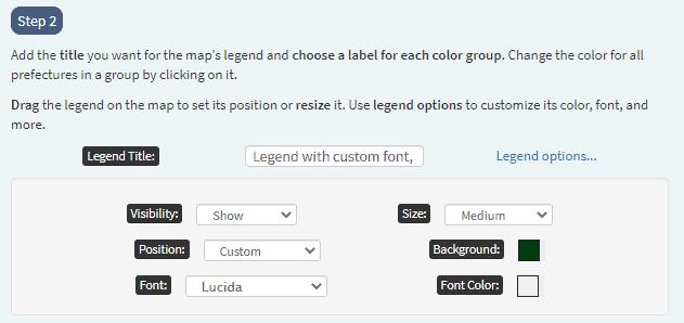 custom font and dark background for legend