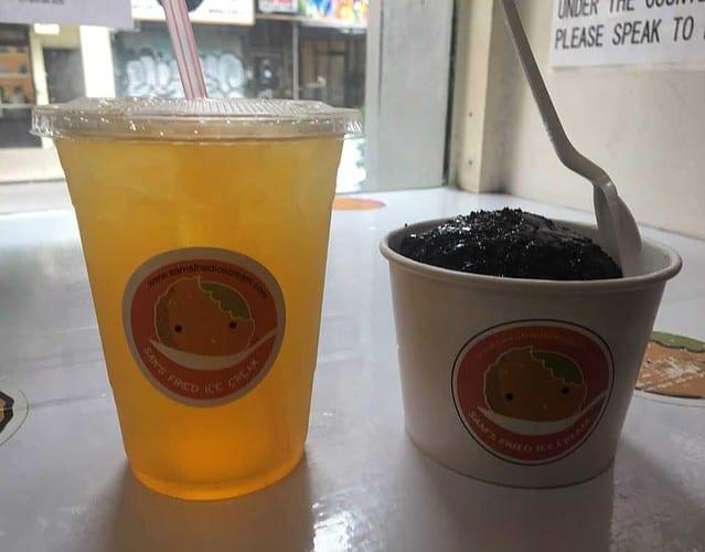 Sam's friend ice cream with a crunchy crushed-oreo shelll, accompanied by iced peach-flavored green tea. Yum.