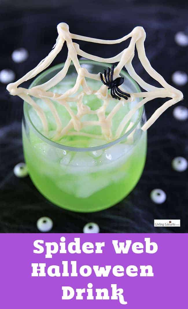 Candy Halloween Spider Web Party Punch. An easy Spider Web drink recipe for kids or adult cocktail with a simple DIY spooky twist.
