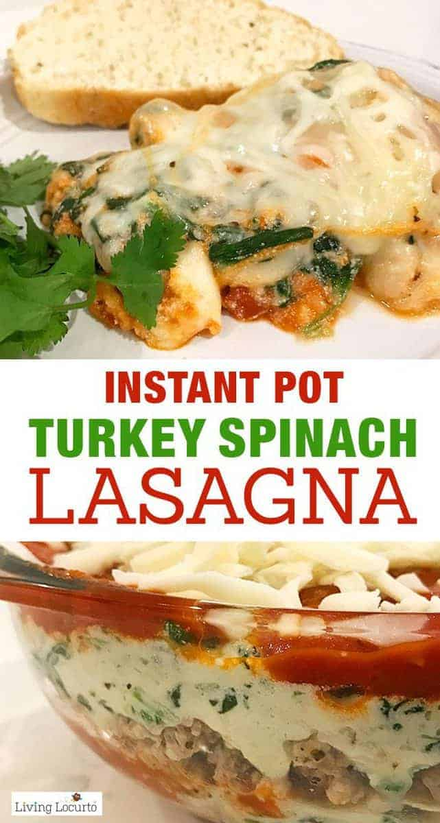 Instant Pot Lasagna is quick, easy and delicious! Try this healthy Turkey Spinach Lasagna recipe in your pressure cooker for a delicious dinner.