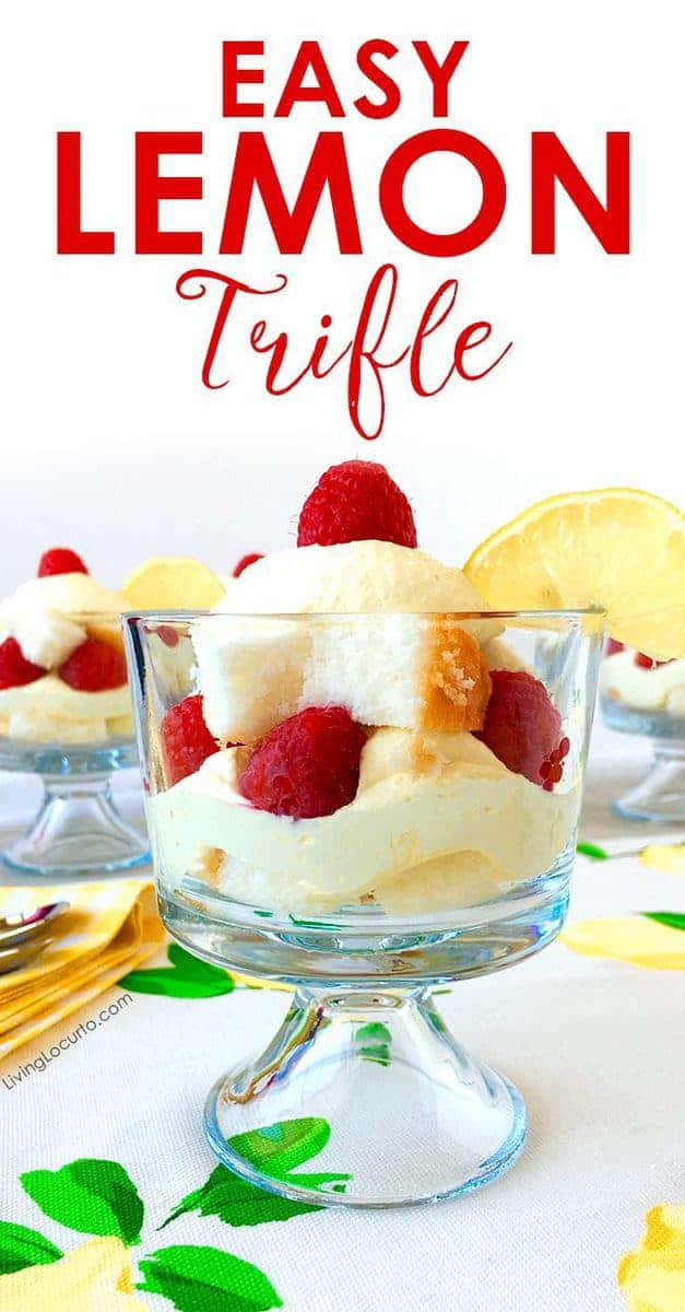 Easy lemon trifle recipe layered dessert recipe. Layers of pound cake, raspberries and a delicious lemon filling.