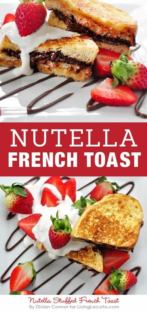 Nutella French Toast recipe with creamy whipped topping! An easy chocolate, hazelnut and strawberry breakfast or snack! LivingLocurto.com #nutella #breakfast