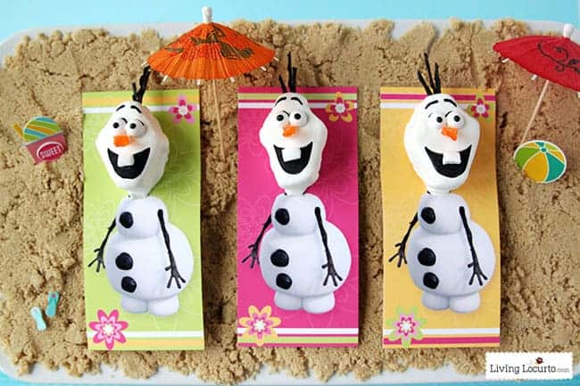 Disney Frozen Summer Birthday Party Ideas and Olaf Marshmallow Pops! Disney's Olaf finally gets to enjoy the beach at a Luau. Fun food ideas, cupcakes, printables and games for the beach or a pool party. LivingLocurto.com