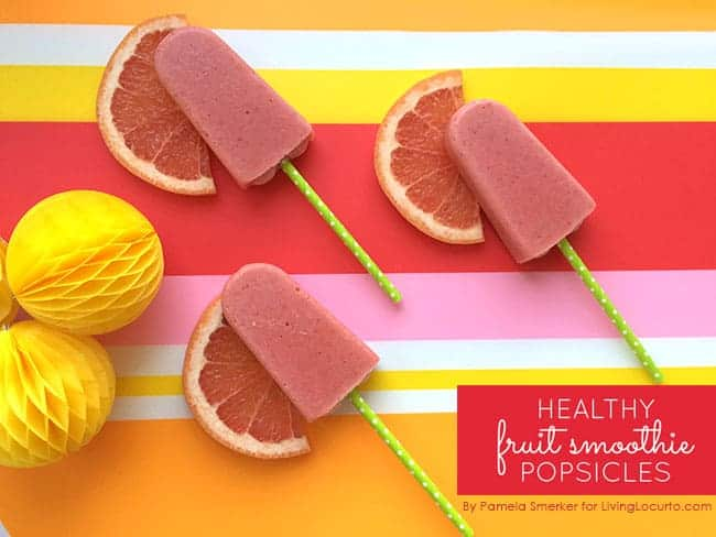 Healthy Fruit Smoothie Popsicles Recipe. These frozen treats are not only good for you, but tasty too! LivingLocurto.com