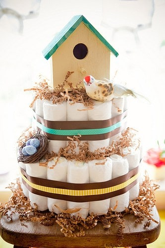 Bird House Diaper Cake. 15 Creative Diaper Cakes. Amazing Baby Shower Party Ideas, crafts and homemade gifts.