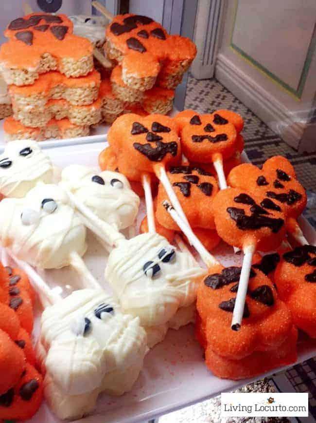 Disney World Magic Kingdom Halloween Cake Pops and Marshmallows - Mickey Mouse Jack-o-lantern and ghost treats