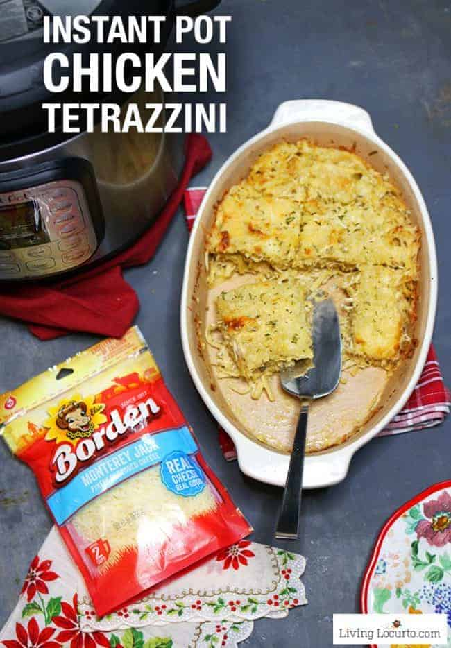 An easy one pot cheesy Instant Pot Chicken Tetrazzini recipe made in a pressure cooker. This creamy chicken pasta is perfect for a family dinner!