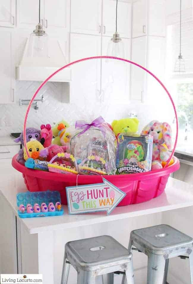 Fun new Easter Egg Hunt Ideas and the cutest Giant Easter Basket to inspire you to get creative just in time for Easter!A DIY Giant Easter Basketmade out of a kid's swimming pool.
