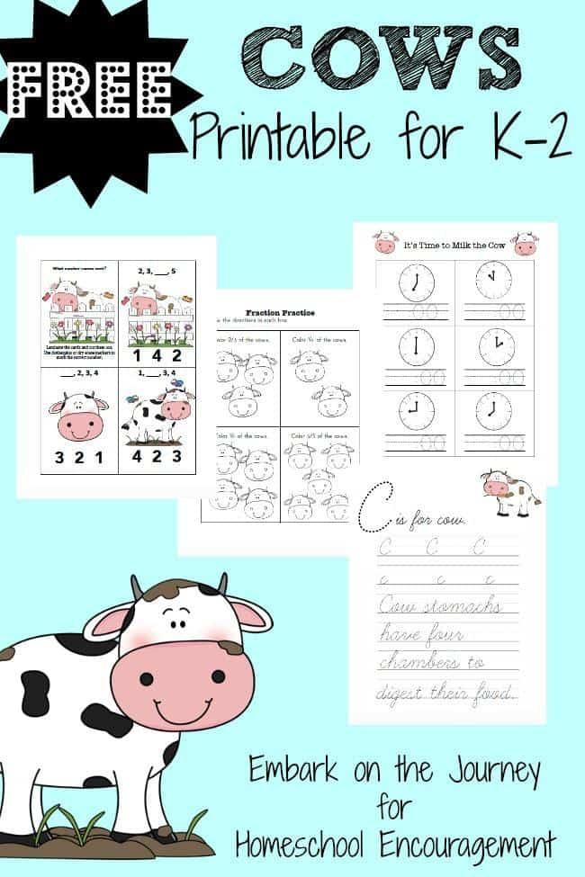 Celebrate Cow Appreciation Day with this free printable for K-2!   encouragingmomsathome.com