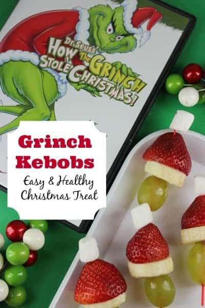 Fruit Kebobs - The Grinch Popcorn - The Grinch Christmas Treats! Adorable fun food ideas for your next Holiday party. Grinch cakes, popcorn, cocktails and school snacks.