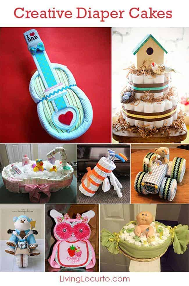 Creative Diaper Cakes! Cute DIY Baby Shower Party Ideas. Homemade crafts, gifts and table centerpieces.