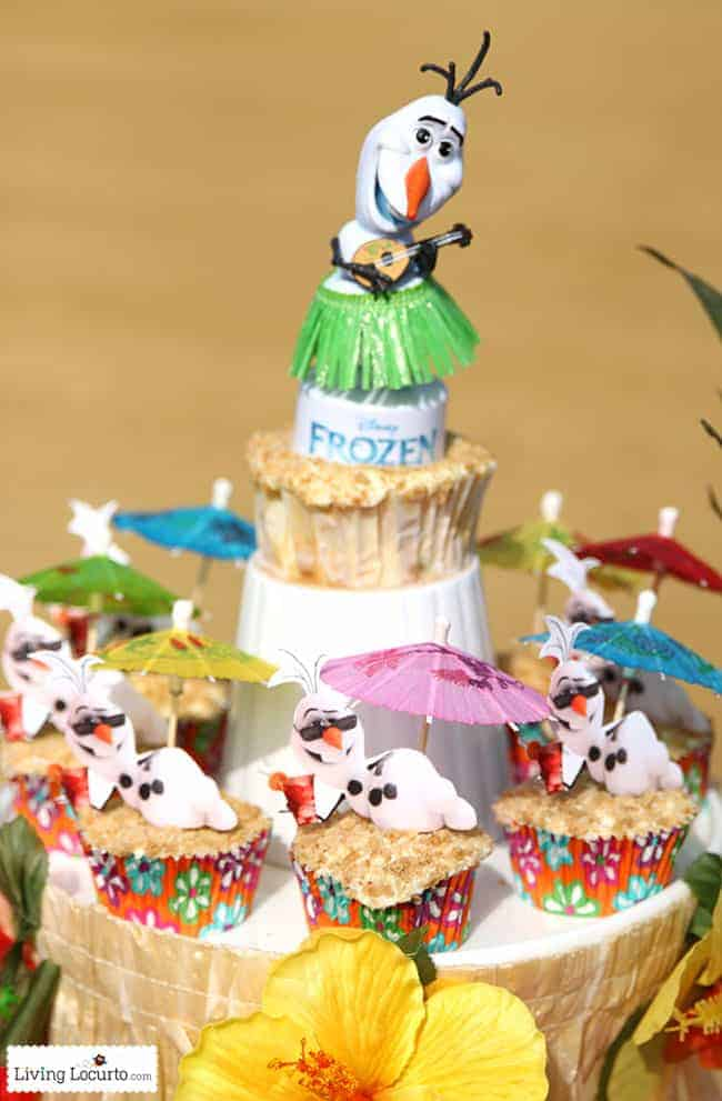 Disney Frozen Summer Birthday Party Ideas! Disney's Olaf finally gets to enjoy the beach at a Luau. Fun food ideas, cupcakes, printables and games for a luau, beach or a pool party. LivingLocurto.com