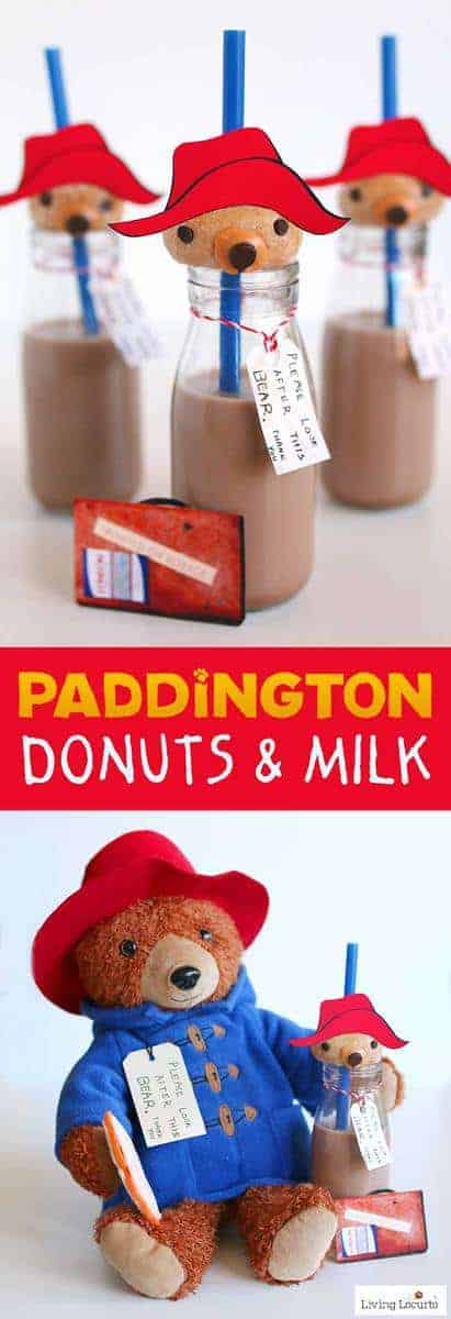 Paddington bear donuts and milk are adorable no bake party treats! A simple DIY fun food recipe idea inspired by the movie PADDINGTON 2. Get free printables and directions for how to make these cute bear donuts food craft. Cute dessert for a Paddington Birthday Party or family movie night! #Paddington2 #donuts #paddington #bear #recipe #party