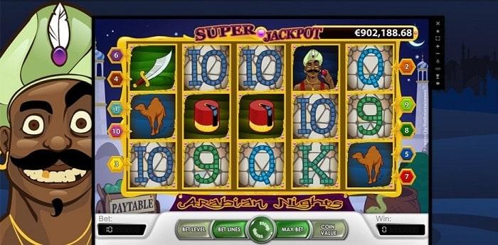 Arabian Nights payout tabkle and jackpot combination