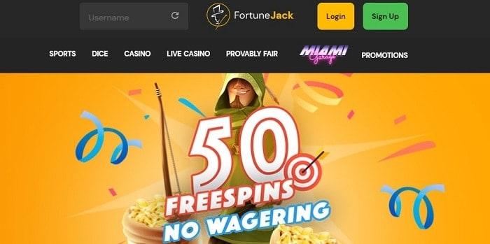 FortuneJack 50 free spins bonus