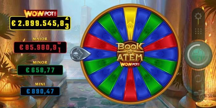Book of Atem WOWPot jackpot wheel of fortune