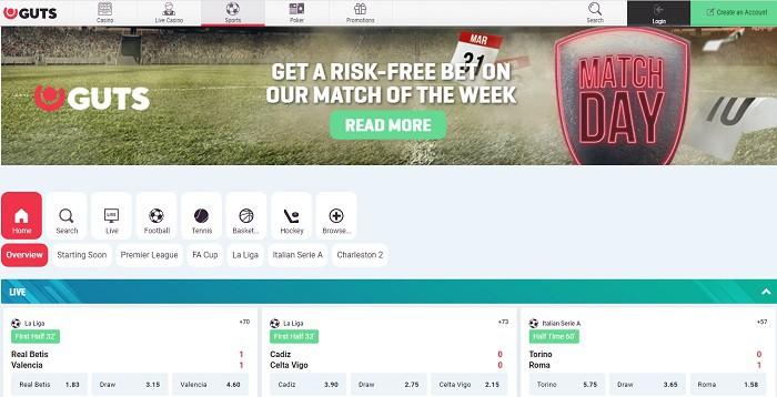 Guts Sports Free Bet Bonus