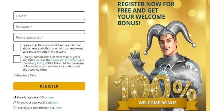Platin 100% Bonus and 20 Free Spins