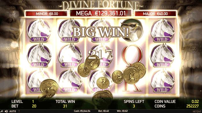 Divine Fortune jackpot winner