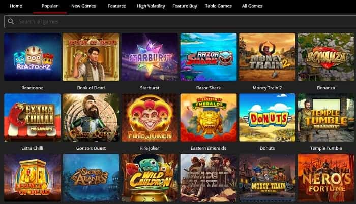 Best slots and table games