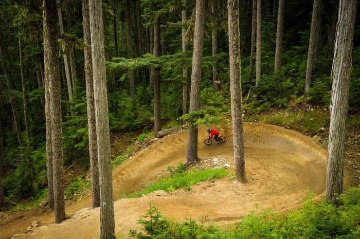 Mountain biking in the whistler bike park
