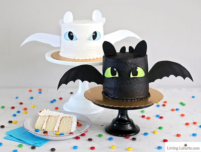 How To Train Your Dragon Cake Tutorial! Fluffy white cake recipe for a Night Fury or Light Fury dragon cake. Cute birthday party cakes by LivingLocurto.com