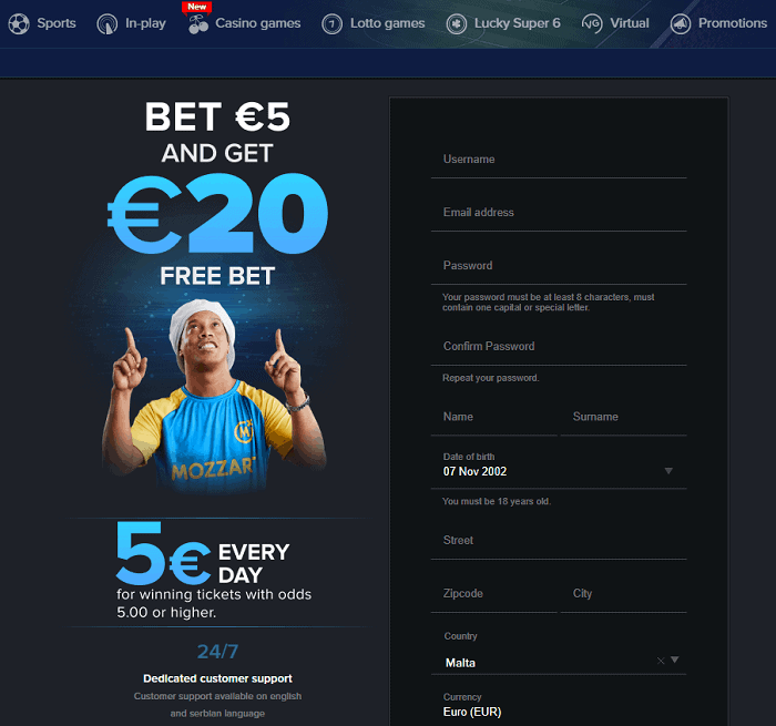 5 EUR free bet and 5 EUR free cash