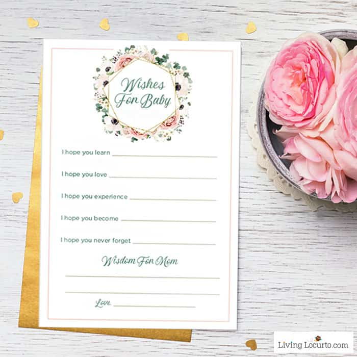 Wishes for Baby Shower Game - Printable Activity Keepsake