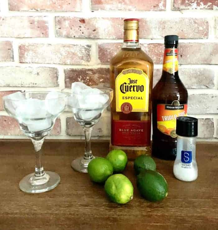 Ingredients for making fresh margaritas with homemade simple syrup.