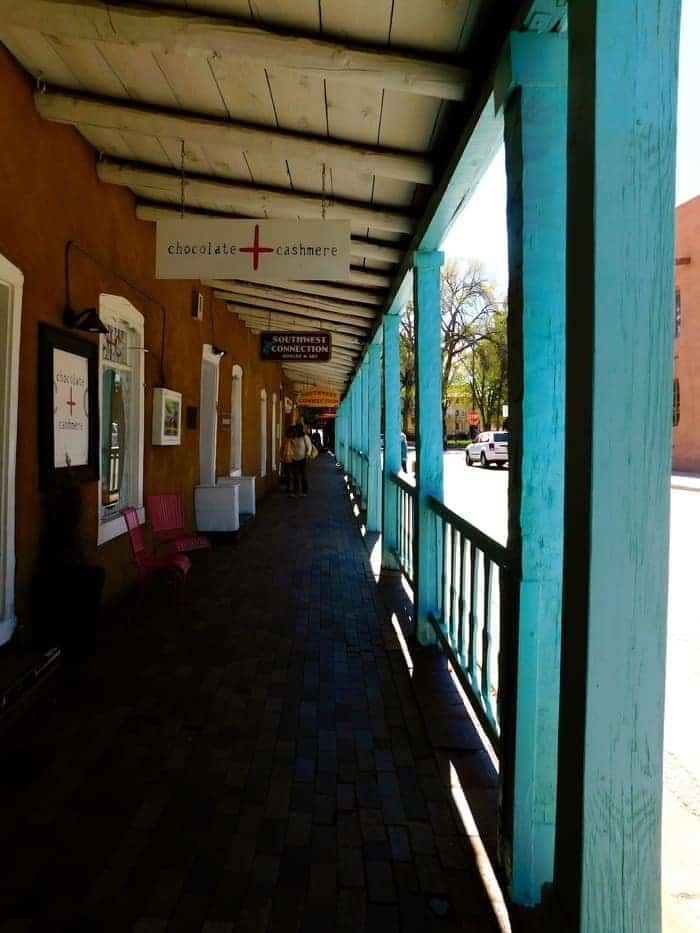 One of many covered sidewalks in santa fe's old town.