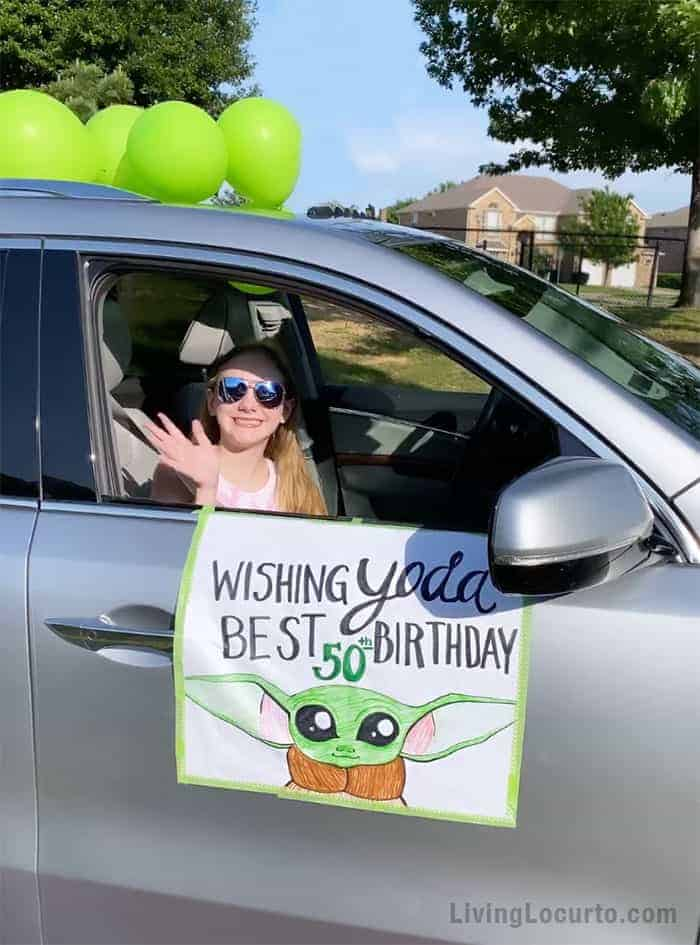 Baby Yoda Birthday Party Parade Car Sign