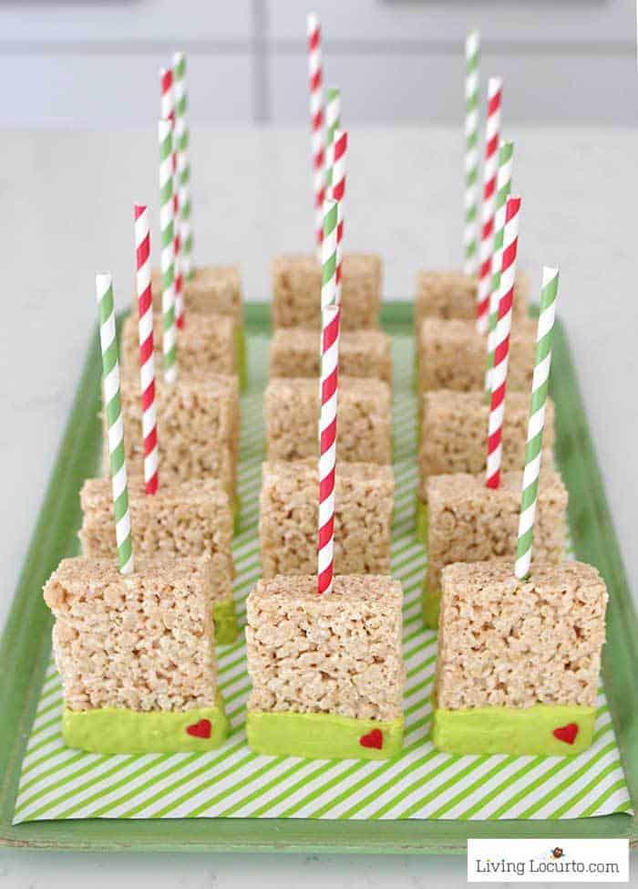 Grinch Rice Krispies Treats. Crispy Marshmallow Pops Dessert Christmas Party Recipe by Living Locurto